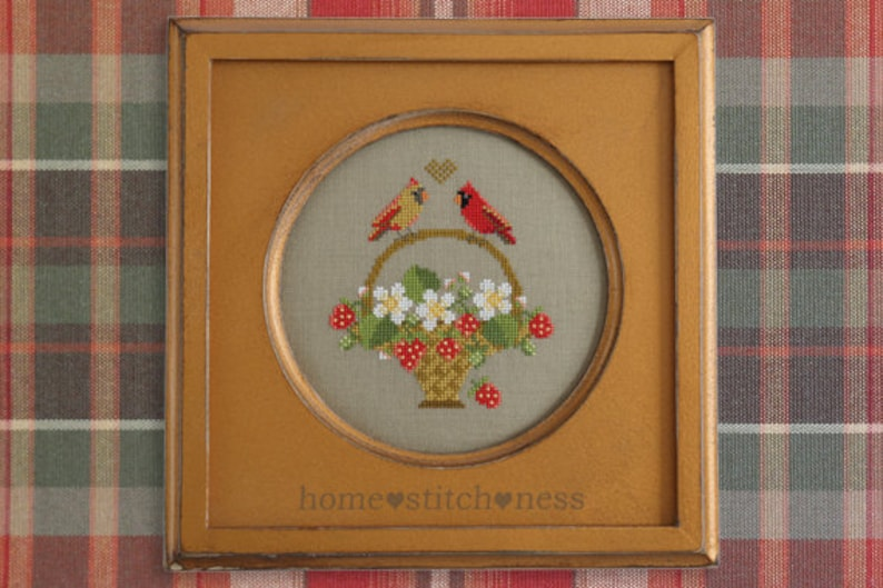 Cardinal Cross Stitch Pattern Strawberries Sampler Antique image 0