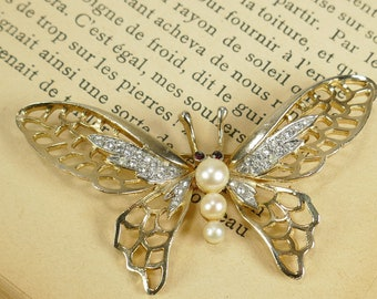 Vintage papillon ton or fausse perle clair strass broche rouge Ruby yeux
