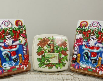 Vintage set of 3 Christmas Container Ullman Candy Box Made USA 3D container gift Fireplace Santa Christmas greetings