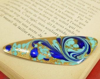 Vintage A Gagnon Modernist Copper Brooch Turquoise Blue Gold Colors Enamel Medallion Brooch Quebec