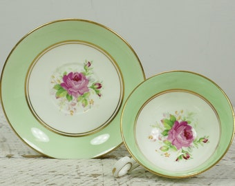 Tasse à thé vintage Old Royal Bone China Wetley Rose Pastel vert tasse soucoupe England