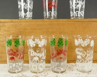 Vintage set of 6 Tumblers glasses drinking glass horseshoe clover Good Luck Bonne Chance Lucky shamrock