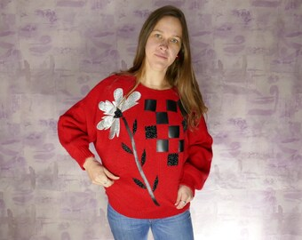 1fe81f2677848c Vintage 80s  Red Sweater Pullover Acrylic Taiwan Flower Square Ms Sheryl  checkerboard