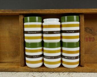 Vintage Spice Jars 1970's Milk Glass Jars Mustard white brown striped Green Plastic Lid Trilingue