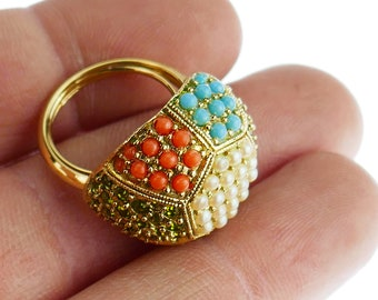 Vintage Ring D'Orlan multicolor stones beads Gold Tone 36 multistone ring designer costume jewelry