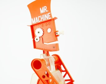 Mr Machine Robot Ideal Corp. original 1977 key toy vintage working Winds Up Walks And Whistles