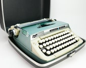 Vintage CURSIVE Typewriter Smith Corona Galaxie Deluxe Serial 6T2V with Case Working