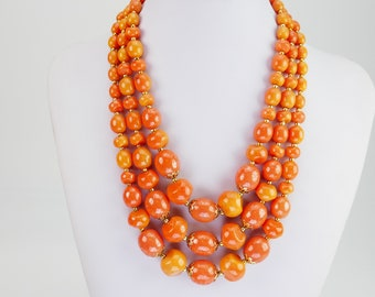 Vintage Coral & Orange color Plastic beads 3 stands necklace with matching clip earrings Hong Kong Colorful