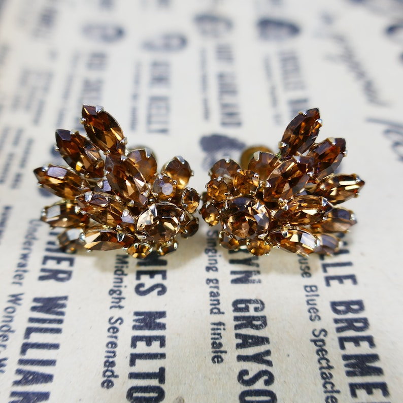 Vintage Sherman Screw Back Earrings Topaz Swarovski Crystals image 0