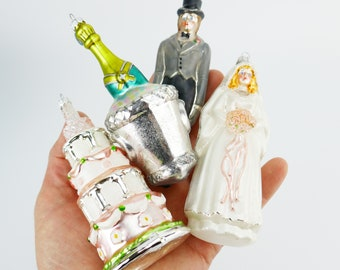 Department 56 Christmas Blown Glass tree Ornaments Wedding Cake Bride Groom Champagne