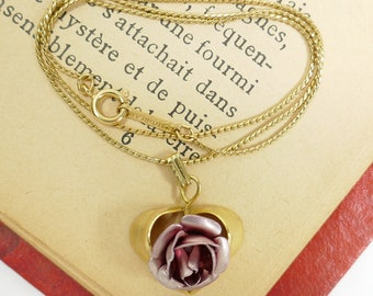 Vintage d'Orlan chaîne avec ton or Rose Rose en forme de coeur