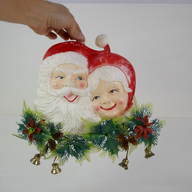Vintage Blow Mold Plastic Santa and Mrs. Claus wall plastic image 0