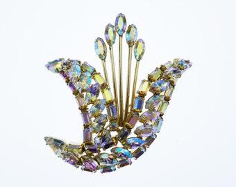 Vintage SHERMAN Signed Brooch Aurora Borealis Swarovski Crystal Costume Collectible Jewelry Silver tone AB Designer Jewelry Gustave Sherman