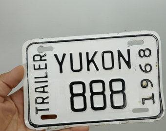 Vintage 1968 YUKON License Plate Trailer ID Wall Hanging 888 Plaque Garage license car dealer Canada
