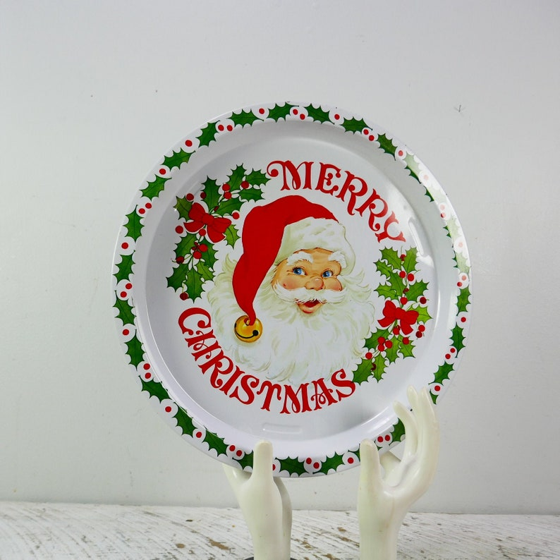 Vintage Christmas Serving Tray Round Santa Claus steel with image 0