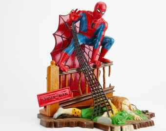 Vintage Original aurora Spiderman  1960's Aurora Model Kit Toy Company 60's Cartoon Action Plastic Scale Assembly built and painted