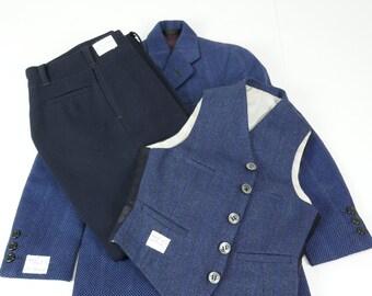 Vintage années 40 costume pour le baptême d'enfant garçon mariage bleu marine veste pantalon gilet fait main scolarité Costumes classiques