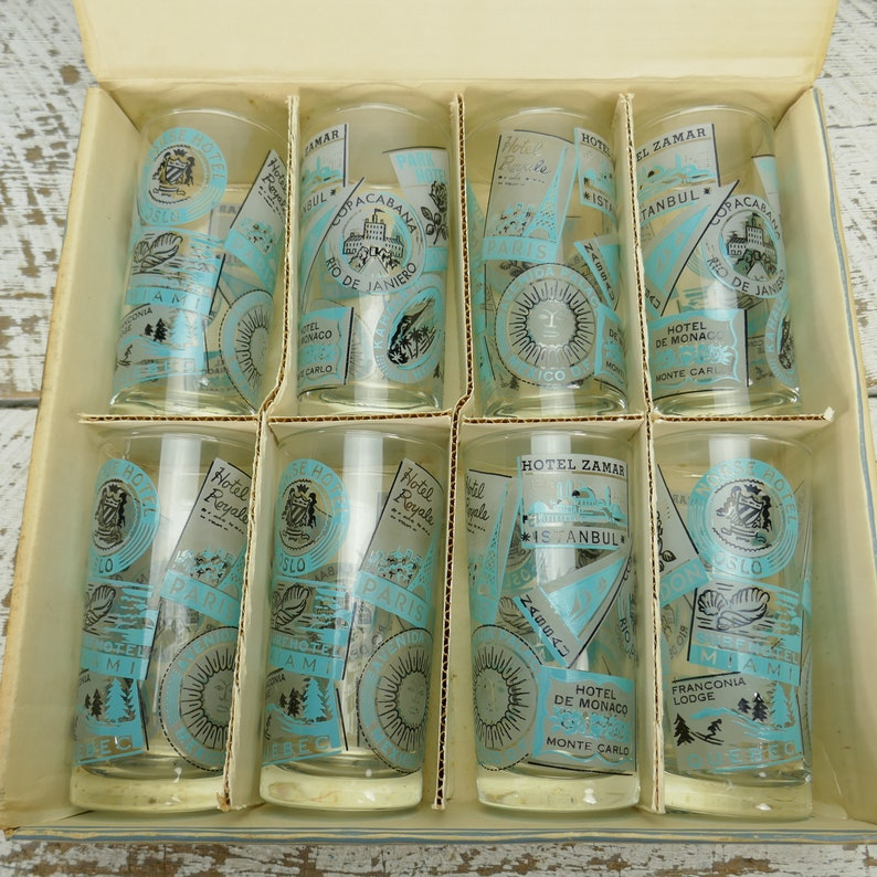 Vintage NOS Mid Century in Box Set of 8 Highball Libbey Partytime glassware Tumblers Glasses Ice Tea Tom Collins USA CANADA Paris Travel