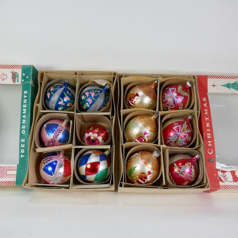 Large JUMBO 2 boxes Vintage set of 12 Christmas Ornaments image 0