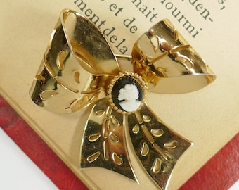 Vintage Coro Bow Cameo Brooch Gold Tone Black & White Cameo Pin Designer Signed Costume Jewelry