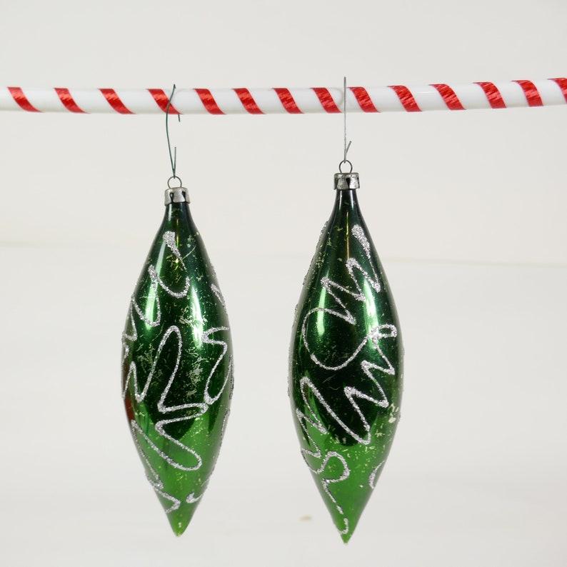 Vintage set of 2 Christmas Ornaments Teardrop Green silver image 0