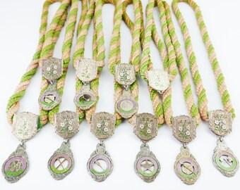 Vintage lot of 10 antique Vintage IOOF Oddfellows Rebekah Lodge silver tone enamel medallion pendant necklace jewelry Masonic Medal