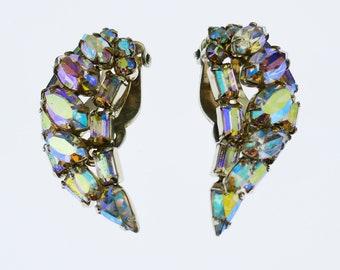 Vintage Signed Sherman Clip On Earrings Aurora Borealis Swarovski Crystals Designer Costume Jewelry Gustave Sherman