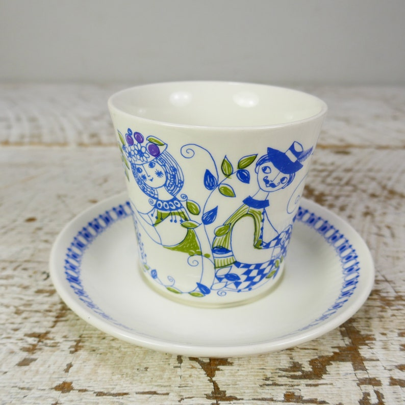 Vintage Turi-Design Blue Lotte Cup Saucer Tea cup Coffee image 0