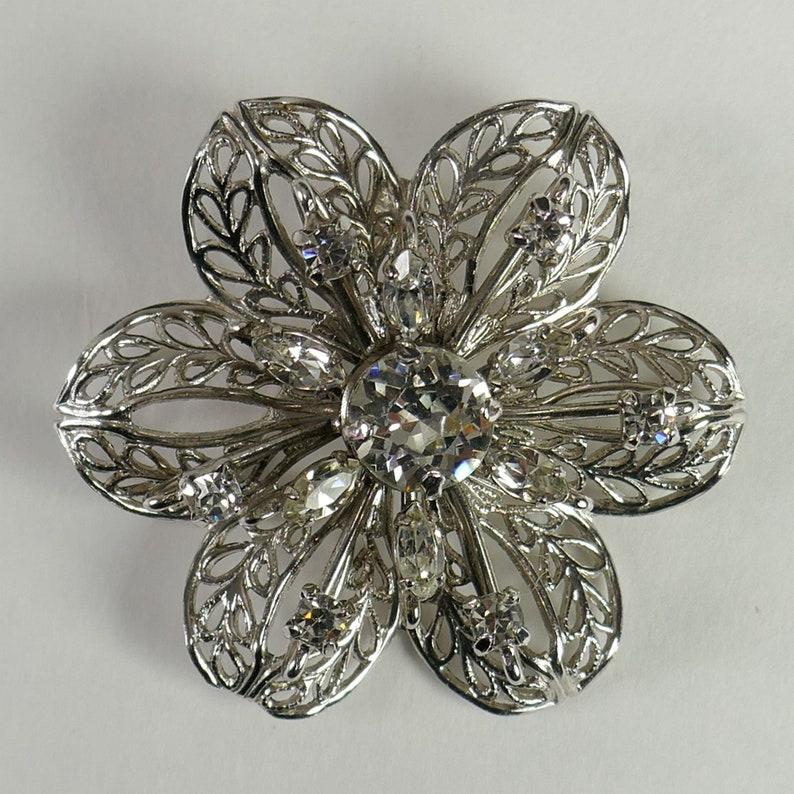 Vintage Jay Flex Sterling Brooch Clear Rhinestone Flower