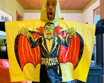 Vintage Ben Cooper Dracula Vampire Raining Poncho 1977 poncho de pluie Halloween costume