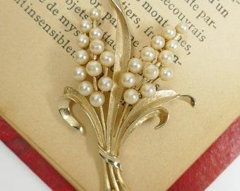 Art Deco broche Bouquet fausse perle laisse ton or
