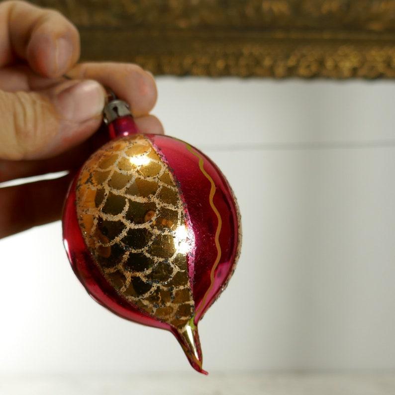 Vintage set of 5 Christmas Ornaments Teardrop indent Glass Red