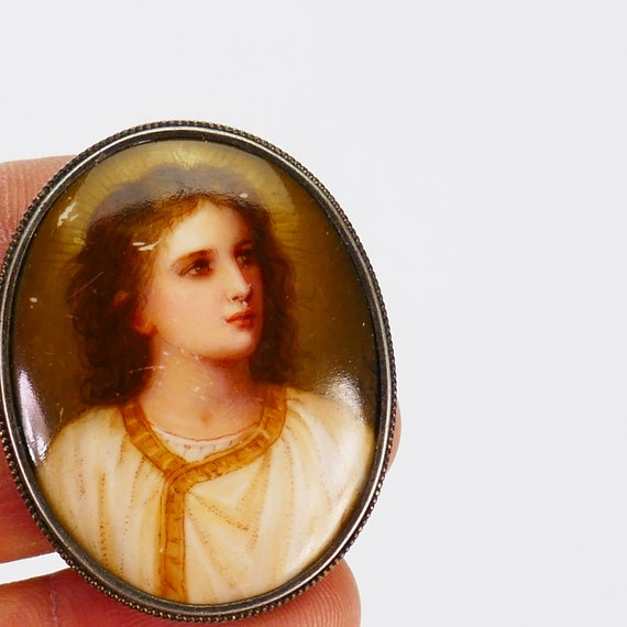 Vintage Brooch Porcelain Hand Painted Young Jesus