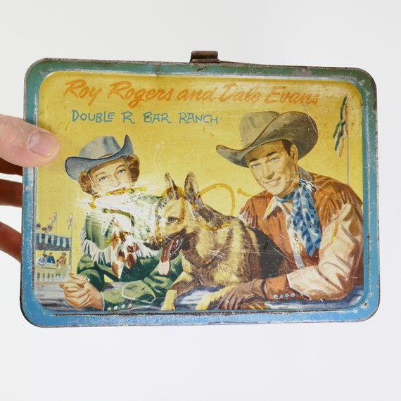 Vintage Western Cowboy Roy Rogers Dale Evans & dog trigger metal lunch box no thermos