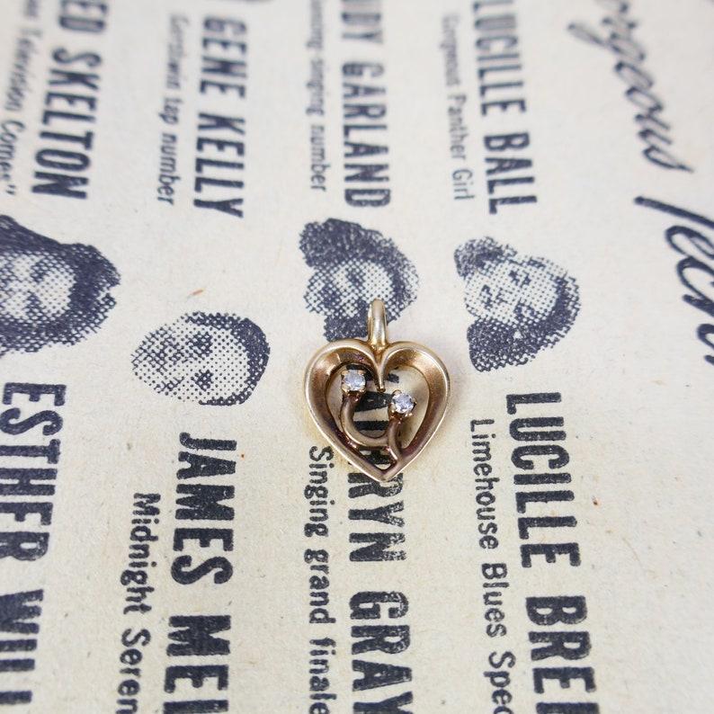 Vintage 14K Yellow Gold Heart Pendant with 2 diamonds Charm image 0