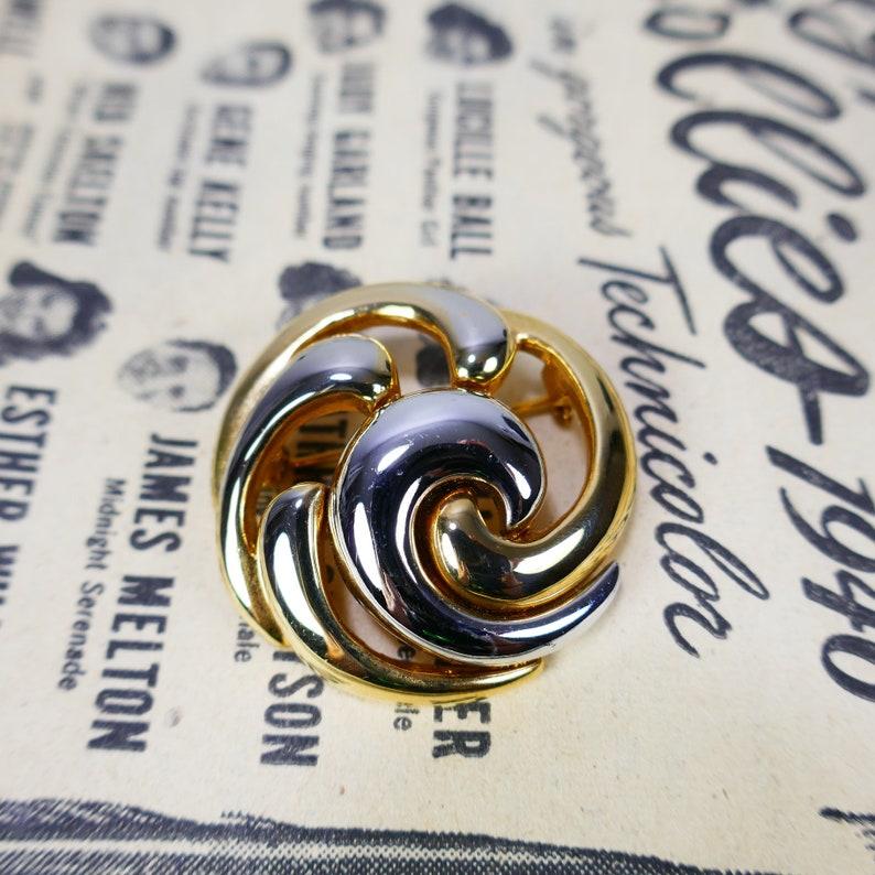 Vintage Signed KEYES designer Costume Jewelry Polished Gold image 0