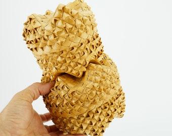 Vintage Hawaiian Lauhala Woven Lidded Basket Tiki