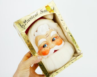 Vintage Wall Santa Musical Santa in box Japan kitschmas pull string 80's Jingle Bells