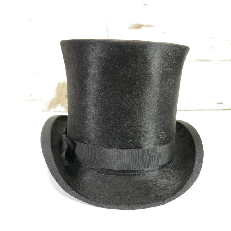 ff17d81a9e13c Antique Edwardian Top Hat Tress   Co London Manufactured for