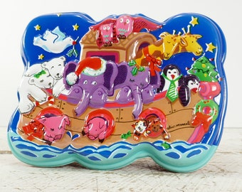 Vintage Christmas Container Ullman Candy Box Made USA 3D container gift Noah's ark Alice Marcel Elephant girafe pig cat