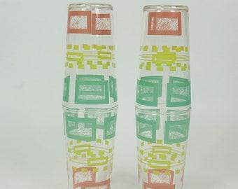 Vintage set de 4 forme potable verres Turquoise jaune rose rétro carré et Rectangle