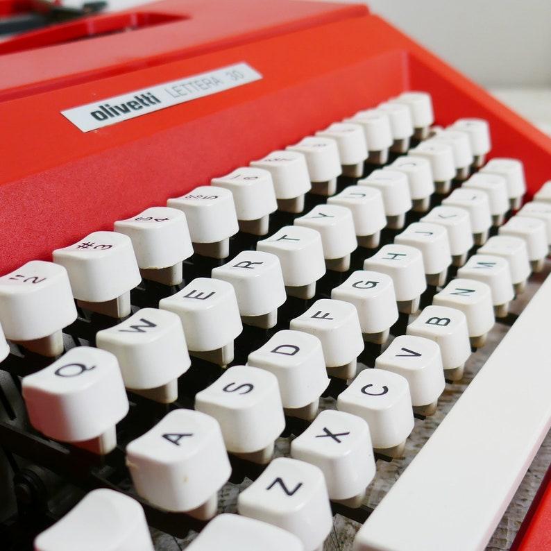 Vintage Olivetti Lettera 30 Red Mid Century Portable image 0