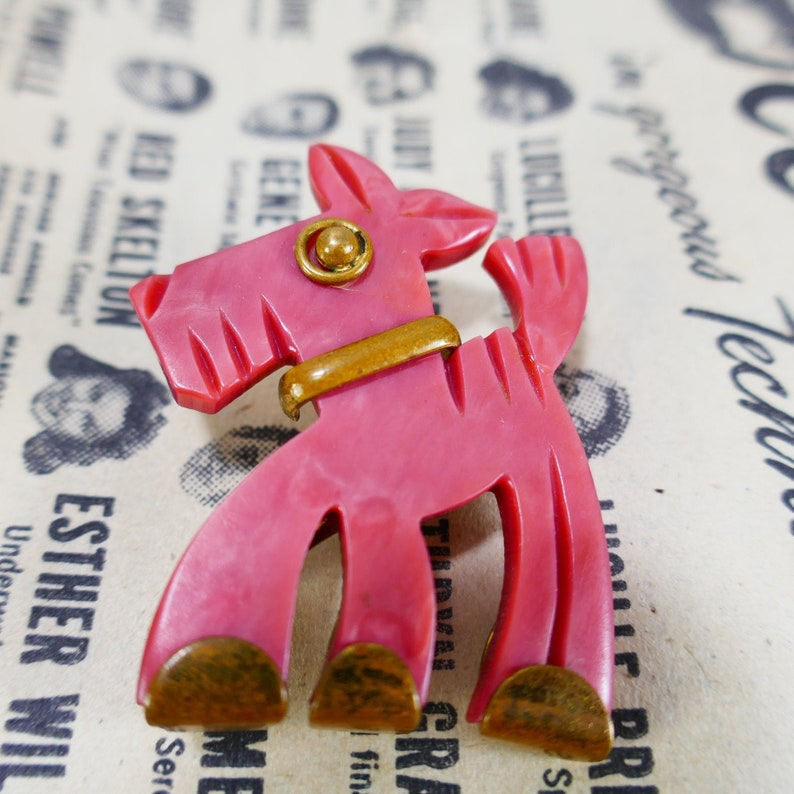Vintage Unsigned Carved Plastic Dog Brooch Resin Brass Pinky image 0