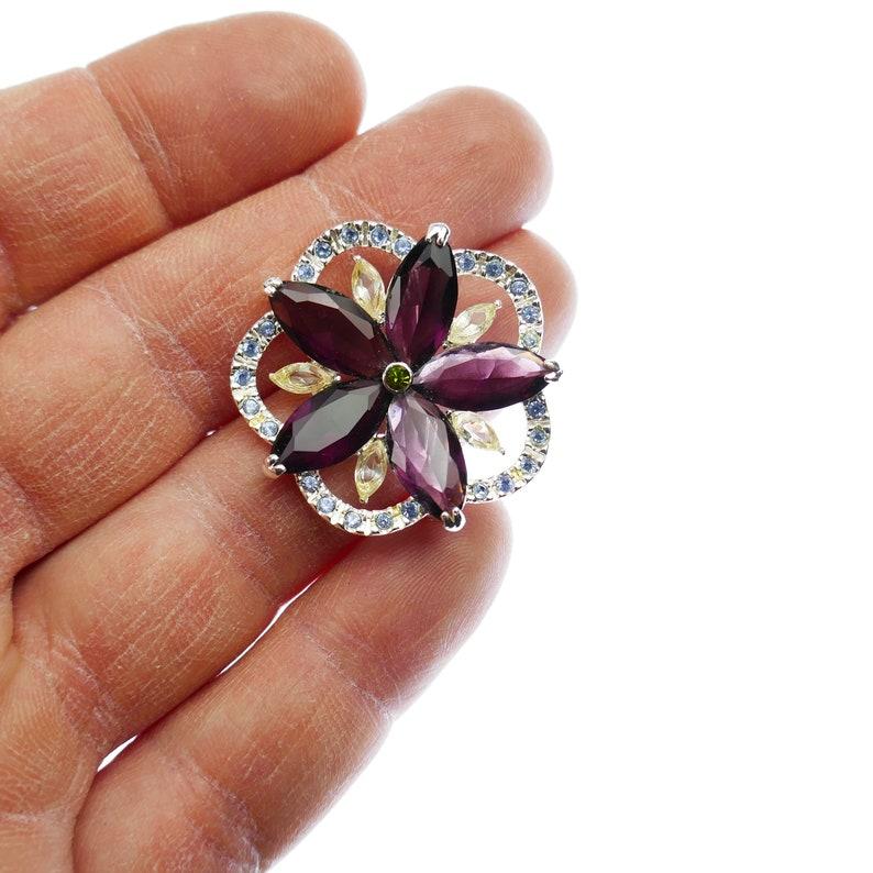 Vintage glass Purple Flower brooch blue /& clear rhinestones middle green Signed Monet silver tone Costume Jewelry Designer Pin jewel