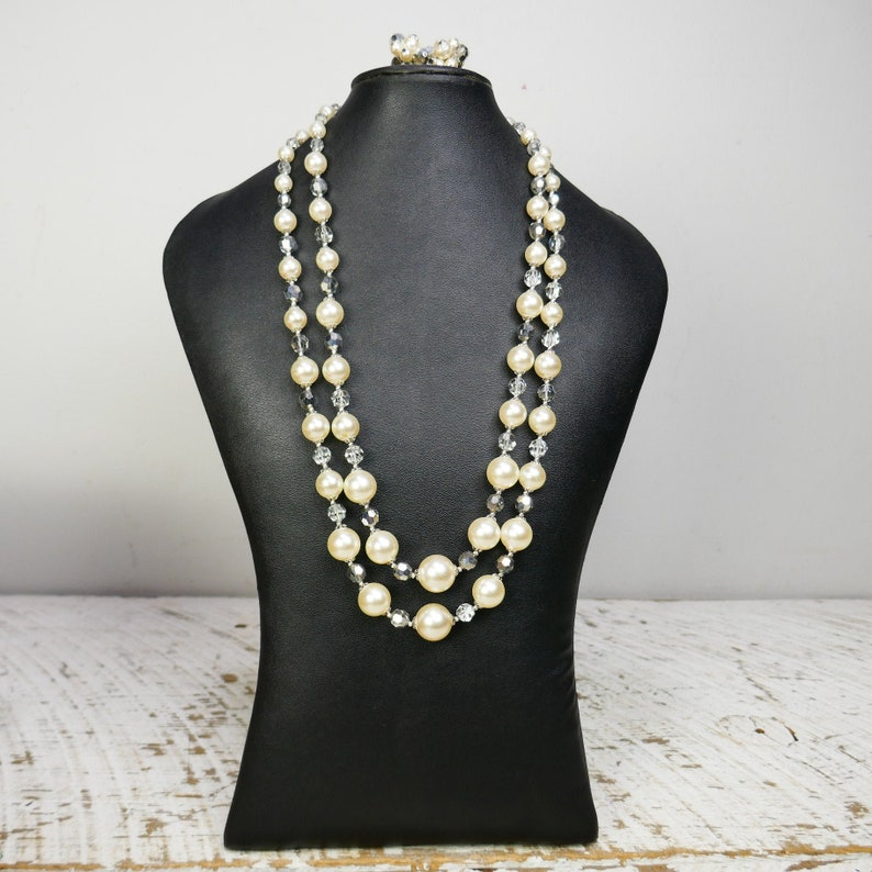 Vintage Sherman Necklace 2 row Clear Swarowski crystals beads image 0