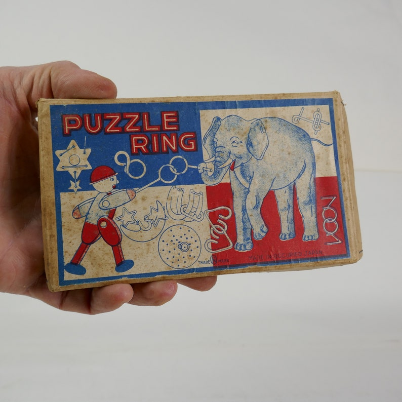 Vintage Toy Puzzle Ring in original Box Made in Occupied Japan image 0
