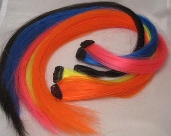 """Clip-in Synthetic Decorative Hair Extensions for Horses or People up to 18"""" Set of 5 *MADE TO ORDER*"""