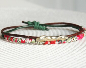 liberty of london and brown leather bracelet with upcycled gold piece