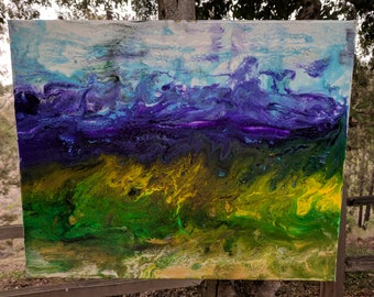 "Fluid Acrylic Painting 16""X20"" Purple Rolling Hills"