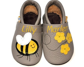0bfe8bd48c9 Bee Baby Moccs Personalized Soft Sole Shoes Leather Baby Shoes Baby  Moccasins Slippers Dedee
